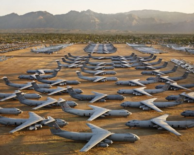 bobbycaputo:  Edward Burtynsky, AMARC #5, Davis-Monthan AFB, Tucson, Arizona, USA, 2006.  That's a lot of Starlifters.