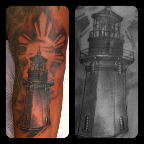 Just finished this on @fliphalee #tattoo #lighthouse #providence #rhodeisland #richmondsttattoo #blackandgray  (Taken with Instagram)