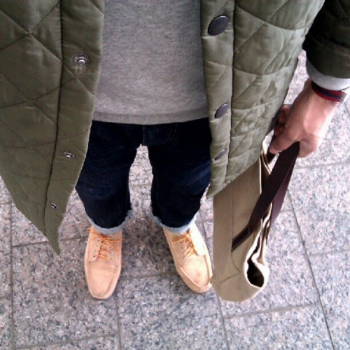 Should've worn duck boots instead #wiwt #ootd #menswear #barbour #llbean #makr (Taken with Instagram)