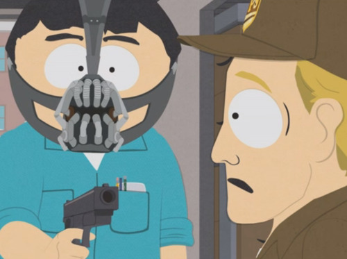 Randy Marsh as Bane, you guys! Click the image to watch the clip from this week's all-new South Park and tune in tomorrow at 10/9c. Only then will you have my permission to die.