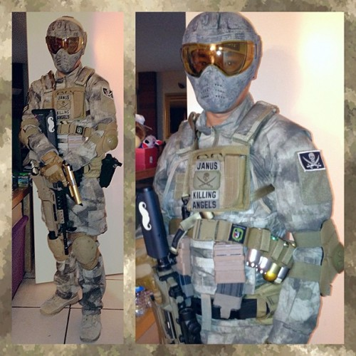 A-TACS on A-TACS. My Killing Angels Airsoft uniform, along with my custom painted SavePhace, grenadier M4A1 EGLM, & gold 1911.