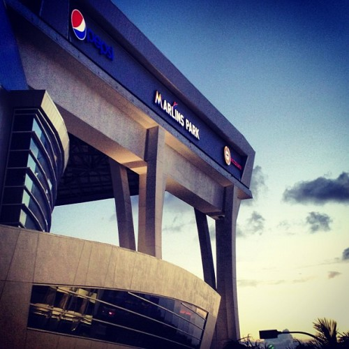 Marlins Park at sunset (photo via Instagram)
