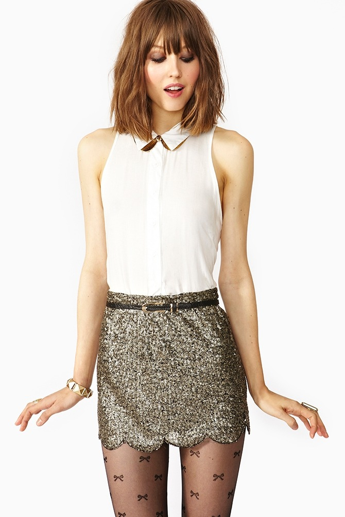 Scalloped Sequin Skirt available from Nastygal!