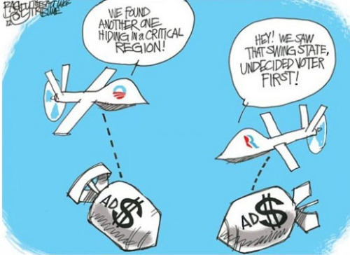 theweekmagazine:  Cartoon of the day — Election drones PAT BAGLEY © 2012 Cagle Cartoons More cartoons