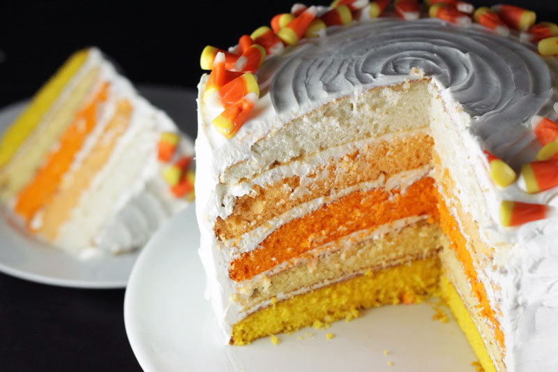 Equal parts colorful and delicious, our Ombre Candy Corn Cake should definitely make your list of treats to make for this Halloween!