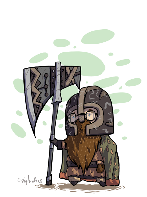 craigarndt:  Craig-Li the Dwarf Travale, hospitalvespers, snarkies, and Doofusy started a Fellowship of the Onion Rings where you draw yourself as a Lord of the RIngs character. I was asked to make a character too and when thinking of which character I could be Travale mentioned my mom used to call me Craigly and it was decided I HAD to be Ghimli. See that little pouch on my belt? Full of dice and DnD sheets. As a dwarf I would simply hang out in the Mines of Moria running DnD style games of what it would be like to work in an office building or something from our world.