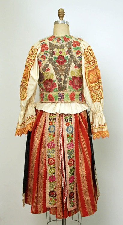 hicockalorum: Eastern European ensemble c. 1800 - 1955. Silk, cotton, wool. Rear view.