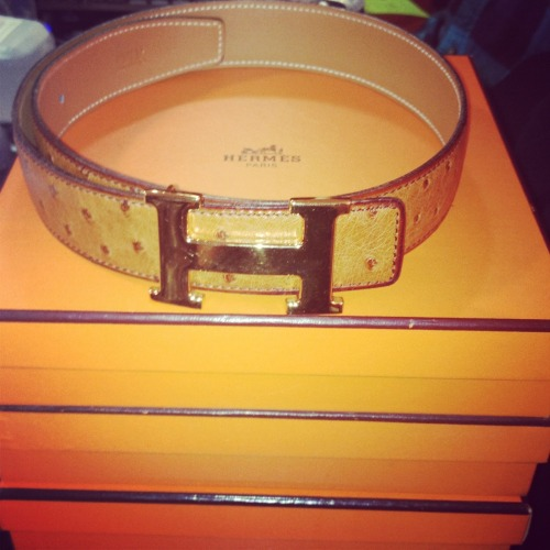 How amazing is this Hermes cognac ostrich belt?