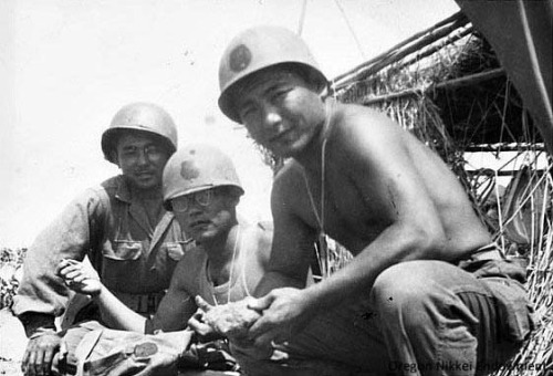 Shoichi Endow (right) in the U.S. Army with two other Nisei soldiers during World War II. Sho joined the army prior to Pearl Harbor and eventually ended up in the all-Nisei 442nd Regimental Combat Team. This photo may have been taken in Camp Shelby, Mississippi, circa 1944.