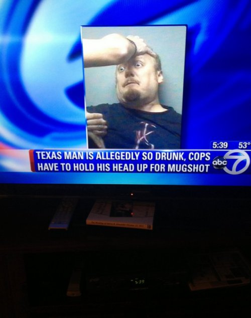 "collegehumor:  Man So Drunk, Can't Hold Head Up For Mug Shot ""Can you take this again? I think my eyes were closed."""