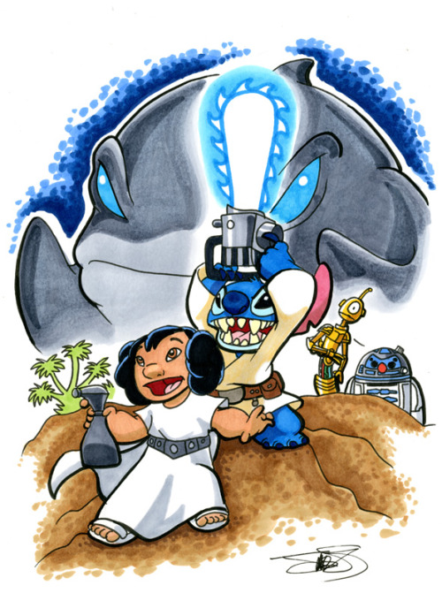 silvaniart via amymebberson  A Long Time Ago, In An Ohana Far, Far Away