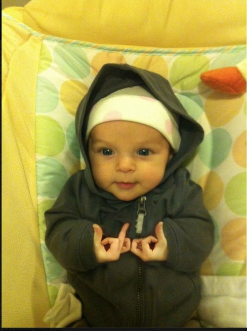 Gangster Baby He's got baby swag and a platinum bottle, boobies in his face and makes the ladies holla.