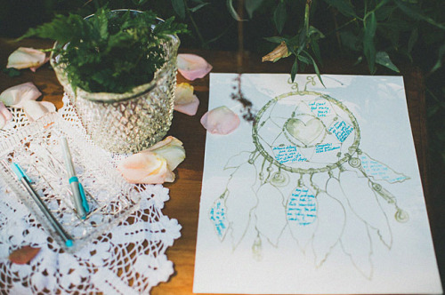 dream catcher illustration as guest book
