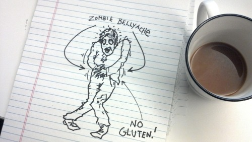 senseibarry:  Do zombies have allergies? If you're allergic to something and you die, will the walking corpse version of you also suffer from that same allergy? Let's say you're allergic to gluten. Would eating the brains of a glutinous gluten-eater make your zombie belly ache? Or do the after dead have some sort of invincibility cloak when it comes to allergies? Please let me know if you or anyone else you know has the answer to this question. It's important.  I hope this isn't true. I want Zombie James to be able to eat bread.