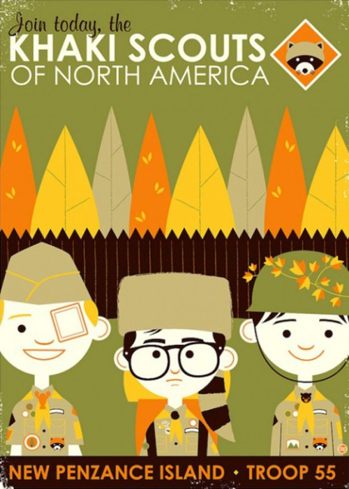 summercampculture:  Moonrise Kingdom poster by David Perillo for the Bad Dads art show coming to New York Comic Con