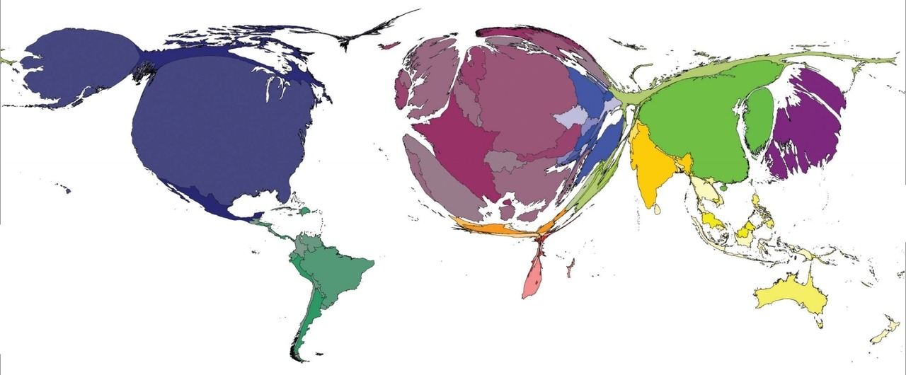 "nprfreshair:  A Map of the World Based on Book Publishing When it comes to book publishing, not all countries are created equal, as this distorted map of the world by the International Publishers Association shows. […] As you can see, places like the U.S., Europe, and parts of Asia are engorged in illustration of their strong publishing industries. Meanwhile, Africa and the Middle East are tiny slivers, meaning that the number of books published in those places is extremely low compared to the rest of the world.   Is that Japan in purple? Dang. I thought Russia would be a bigger presence, too.  The map demonstrates the way that books and the industry behind them reflect access to knowledge,"" according to the creators of the report. [Image: International Publishers Association]"