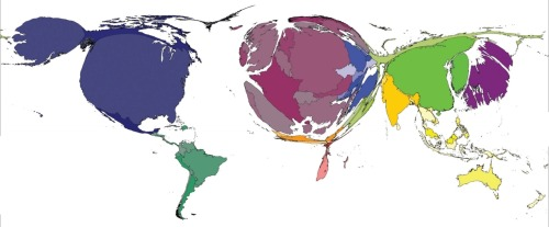 "A Map of the World Based on Book Publishing When it comes to book publishing, not all countries are created equal, as this distorted map of the world by the International Publishers Association shows. […] As you can see, places like the U.S., Europe, and parts of Asia are engorged in illustration of their strong publishing industries. Meanwhile, Africa and the Middle East are tiny slivers, meaning that the number of books published in those places is extremely low compared to the rest of the world. The map demonstrates the way that books and the industry behind them reflect access to knowledge,"" according to the creators of the report. [Image: International Publishers Association]"