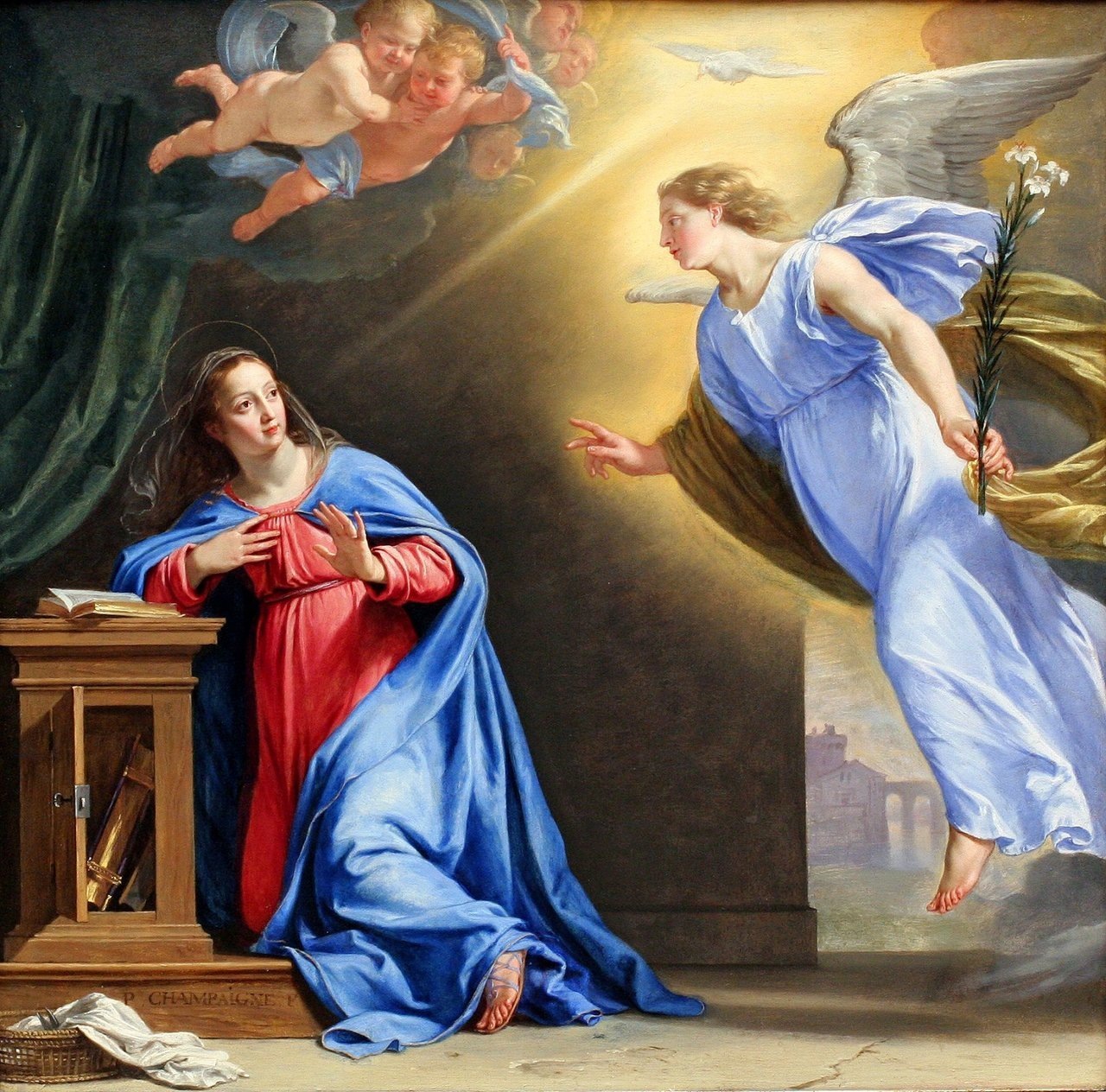 "The Annunciation (ca, 1644). Philippe de Champaigne  (French, 1602–1674). Oil on wood. The Metropolitan Museum of Art. This picture was painted in for the private oratory of Anne of Austria, the widowed wife of Louis XIII. The oratory, a small oval room in the Palais Royal, Paris, was decorated by the most prominent French painters of the day. Its altarpiece was painted by Simon Vouet; Champaigne painted a ""Marriage of the Virgin"" (Wallace Collection, London) and this ""Annunciation."" They seem to have been arranged around the walls, forming a narrative cycle."