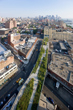 "The High Line is a new 1.5-mile long public park built on an abandoned elevated rail-road stretching from the Meatpacking District to the Hudson Rail Yards in Manhattan. Inspired by the melancholic, unruly beauty of this post industrial ruin, where nature has reclaimed a once vital piece of urban infrastructure, the new park interprets its inheritance. It translates the biodiversity that took root after it fell into ruin in a string of site-specific urban micro climates along the stretch of railway that include sunny, shady, wet, dry, windy, and sheltered spaces.Through astrategy of agri-tecture—part agriculture, part architecture—the High Linesurface is digitized into discrete units of paving and planting which areassembled along the 1.5 miles into a variety of gradients from 100% paving to100% soft, richly vegetated biotopes. The paving system consists of individualpre-cast concrete planks with open joints to encourage emergent growth likewild grass through cracks in the sidewalk. The long paving units have taperedends that comb into planting beds creating a textured, ""pathless"" landscapewhere the public can meander in unscripted ways.The parkaccommodates the wild, the cultivated, the intimate, and the social. Accesspoints are durational experiences designed to prolong the transition from thefrenetic pace of city streets to the slow otherworldly landscape above.The High Line was designed in collaboration with James Corner Field Operations and Piet Oudolf."