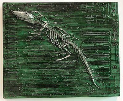 Circuit board fossils and other work by artist Peter McFarlane.