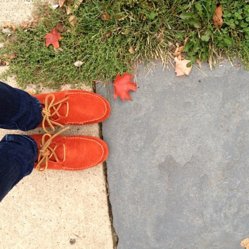 #fall #red #moccasins on a #cool #october #day. #burstofcolor #leafcoordination #autumn #shoes #color #nofilter #inrealtime  (Taken with Instagram at Gina's Bakery)