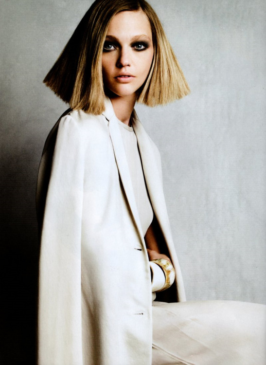 Sasha Pivovarova by Patrick Demarchelier for Vogue November 2010 wearing Calvin Klein Collection