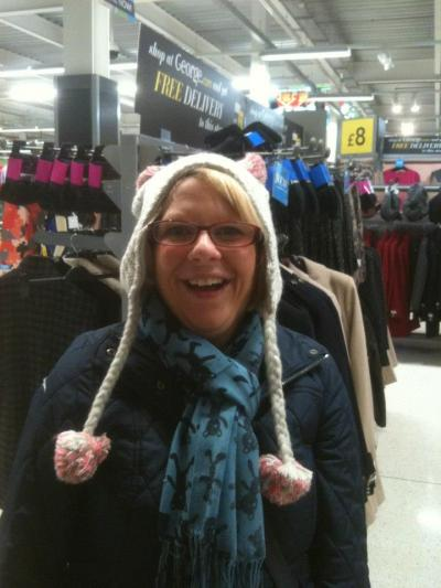 My mum was trying to look all kawaii like in asda with a cat hat on…