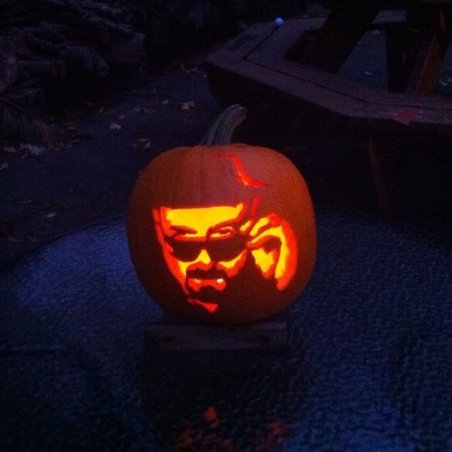 Carved a Heisenberg pumpkin to keep watch over my parents' patio #saymyname #BreakingBad (Taken with Instagram)