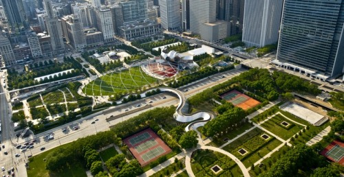 "climateadaptation:  ""At 24.5 acres, Millennium Park is the largest green roof in the world. It covers two parking garages, a railway, and an opera hall."" Great photo essay at PBS on the green roofs of Chicago."