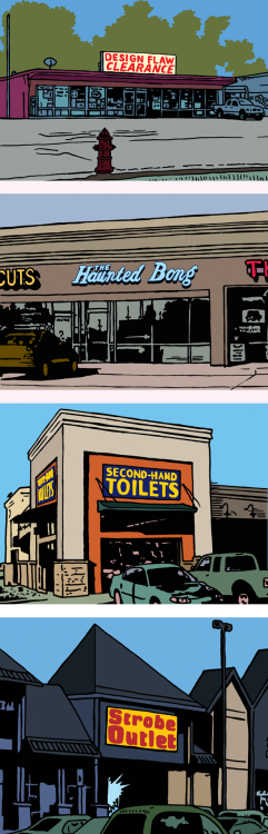 At a strip mall near you. Comic by Michael Kupperman for The Huffington Post.