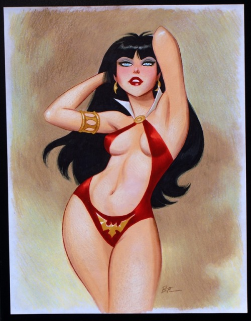 greggorysshocktheater:  (via Vampirella by Bruce Timm, in Conny Valentina's Bruce Timm Comic Art Gallery Room)