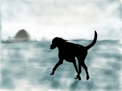 River prancing in the surf at Cannon Beach, 2012. Another iPad sketch. (I am downright obsessed with the Paper app… it's so fun!)