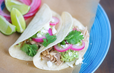 Pork Tacos with Guacamole and Queso Fresco with recipe (link)