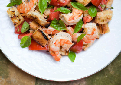Grilled Shrimp Panzanella with recipe (link)