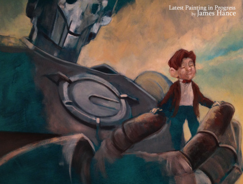 First 'Iron Giant' painting in progress… Pulling things together :) x  My site / My Facebook