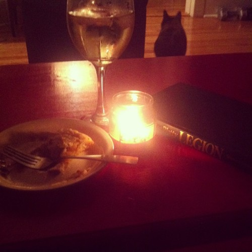 Apple pie, wine and a scary book! Perfect October evening. (Taken with Instagram)