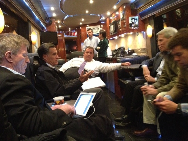 Gov Christie and Gov Romney talking on the bus after a campaign stop in Ohio #2012