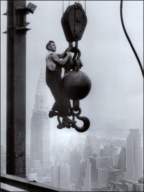 A worker on the job during the construction of the Empire State Building.