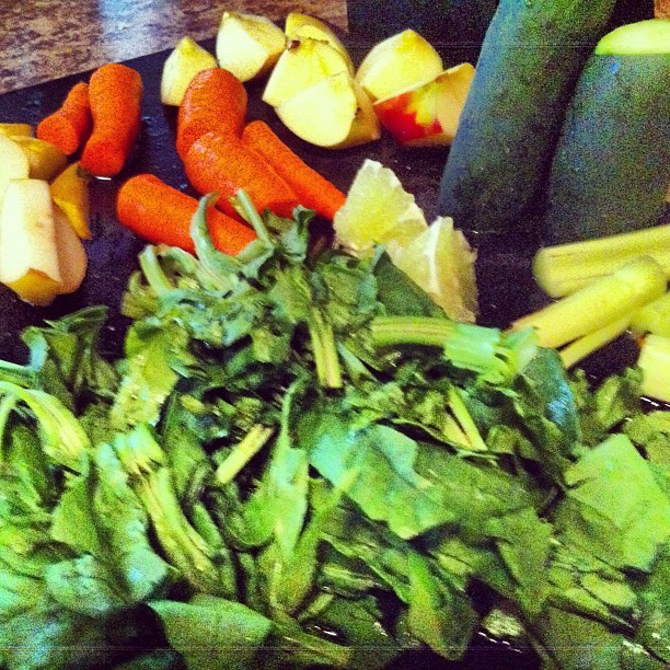 Green. #spinach #carrot #pear #apple #lime #ginger #celery #cucumber  (Taken with Instagram)