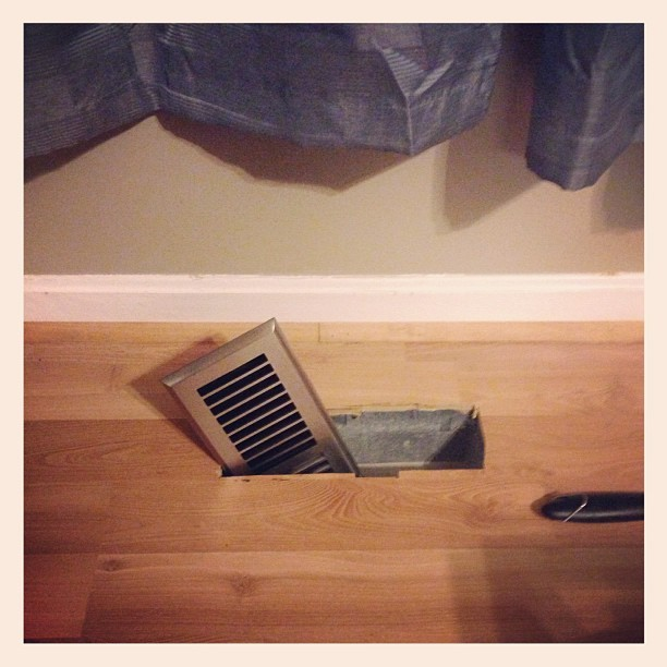 Jackson has learned that it is really easy to remove vent covers. I find them like this all day every day. I also find interesting things inside, such as all of his forks & spoons, toy trains, and most recently a spatula and pasta spoon. How he is getting all of this done without me noticing is a mystery. It is Equally remarkable that none of us have accidentally stepped into them. #parenting #toddler (Taken with Instagram)
