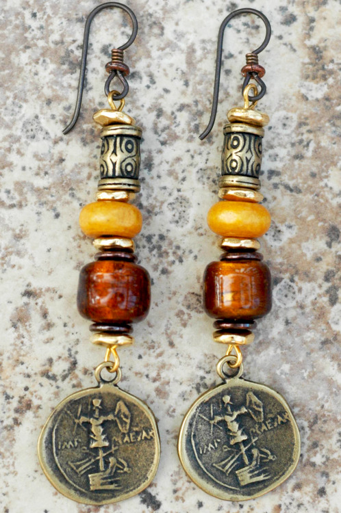 Honey Gold Earrings: Amber, Gold and Bronze Coin Dangle Earrings