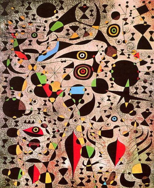 dientes-de-leche:  Joan Miró - Women Encircled by the Flight of a Bird (1941)