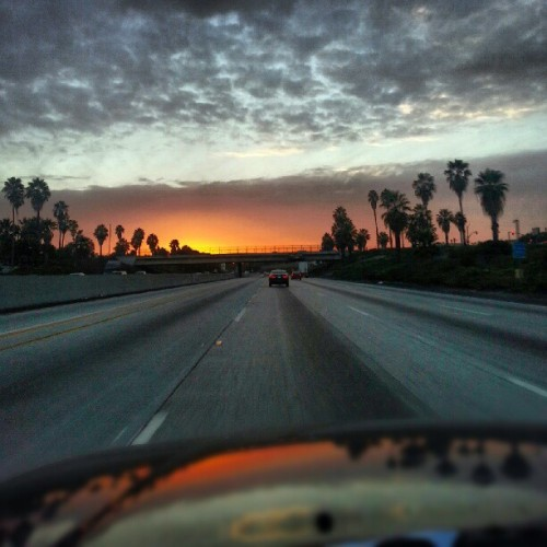 #california #palmtrees #freeway #sunset #clouds #freeway #omg #beautiful #subhanAllah  (Taken with Instagram)