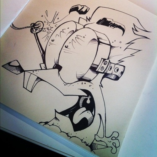 "Mole-a-day series - ""wrong end""  #molepatrol #cartoon #character #sharpie (Taken with Instagram at Saatchi & Saatchi LA)"