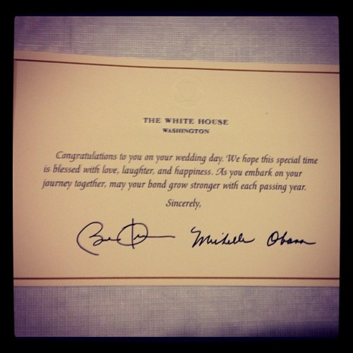 Best Wishes from President and Mrs. Obama #POTUS #LOTUS #teamjascott  (Taken with Instagram at Cameron Crib)