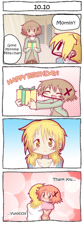 yogurtmedia:  Short Comic - Hidamari SketchMiyako's Birthday - 10.10 Happy Birthday Miyako!I'm not exactly that great when it comes to writing comics, but I'll keep trying. I chose to do a comic because I haven't done so in such a long time, and Miyako's birthday is a good excuse to do so.