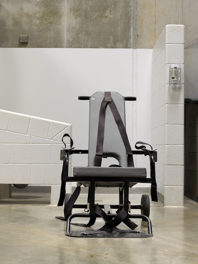 "Camp 6, mobile force feeding chair ""In 2005 I first saw the affidavits from prisoners alleging mistreatment by the medical staff and the deliberate use of over-size tubes to force them off their hunger strikes. I was, however, much more interested in the affidavit of Dr Edmondson, the doctor in charge of the hospital in Guantanamo refuting the allegations and stating that he had permission to force-feed the prisoners as he was following the orders of a ""higher military authority"". These words exactly mirrored those used by the Nazi doctors charged with war crimes at Nuremberg."" Dr David Nicholl"