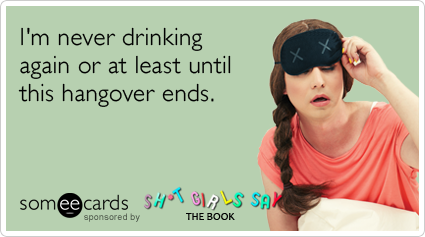 I'm never drinking again or at least until this hangover ends.Via someecards