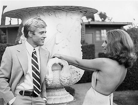 Robert Redford and Barbra Streisand on the set of The Way We Were in 1972.