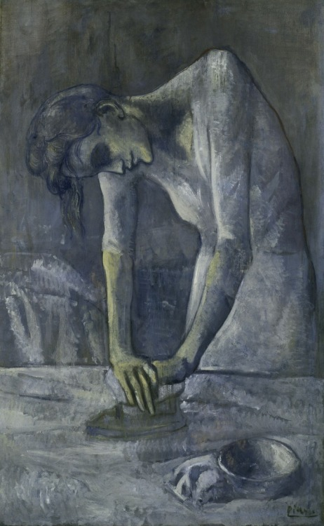 """Woman Ironing"", Pablo Picasso, 1904 My taste for Picasso is extraordinarily limited, but this, this, I love. There's so much here that is framed, constricted, even: the woman can only exist bent over, the shadows on her neck parallel to the top of the frame—both an echo and an insistence that this is a painting. She cannot straighten her neck and head and still exist as a painted figure. The bottom third presses three-dimensionality out of the canvas; it might as well be a vertical band. Yet the work which the woman performs presses three-dimensionality back into the painting, imbuing life and reality into the painting even as the canvas presses against it."
